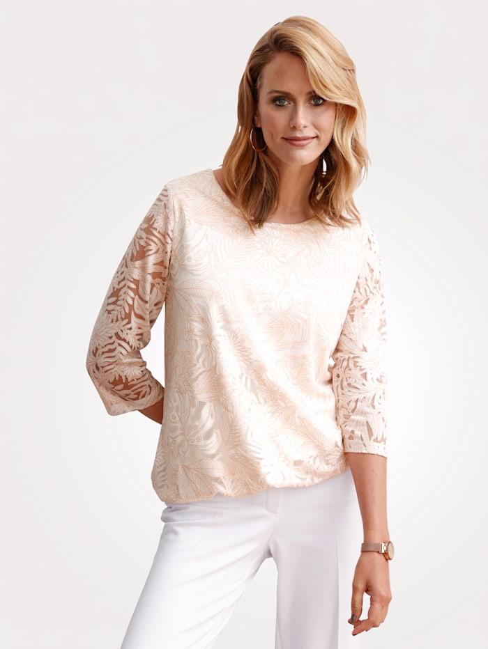 MONA T-shirt en matière dévorée à fleurs, Écru/Rose