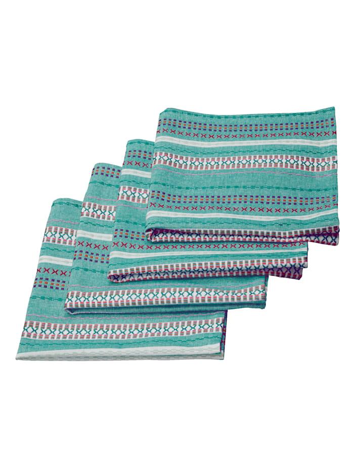 IMPRESSIONEN living Lot de 4 serviettes de table, Vert