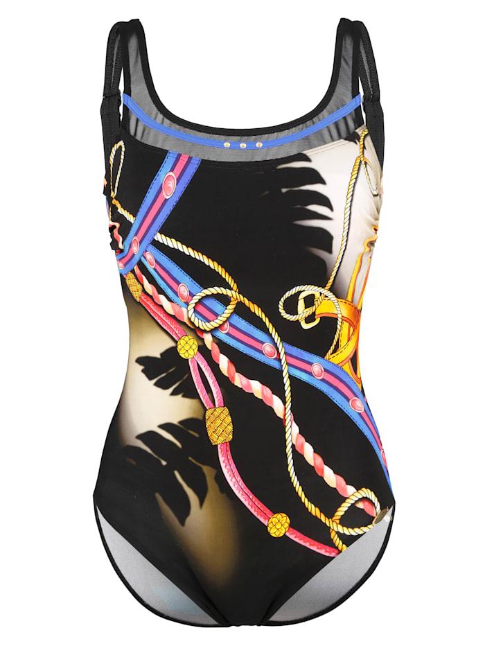 Sunflair Badeanzug mit Netzblende, Schwarz