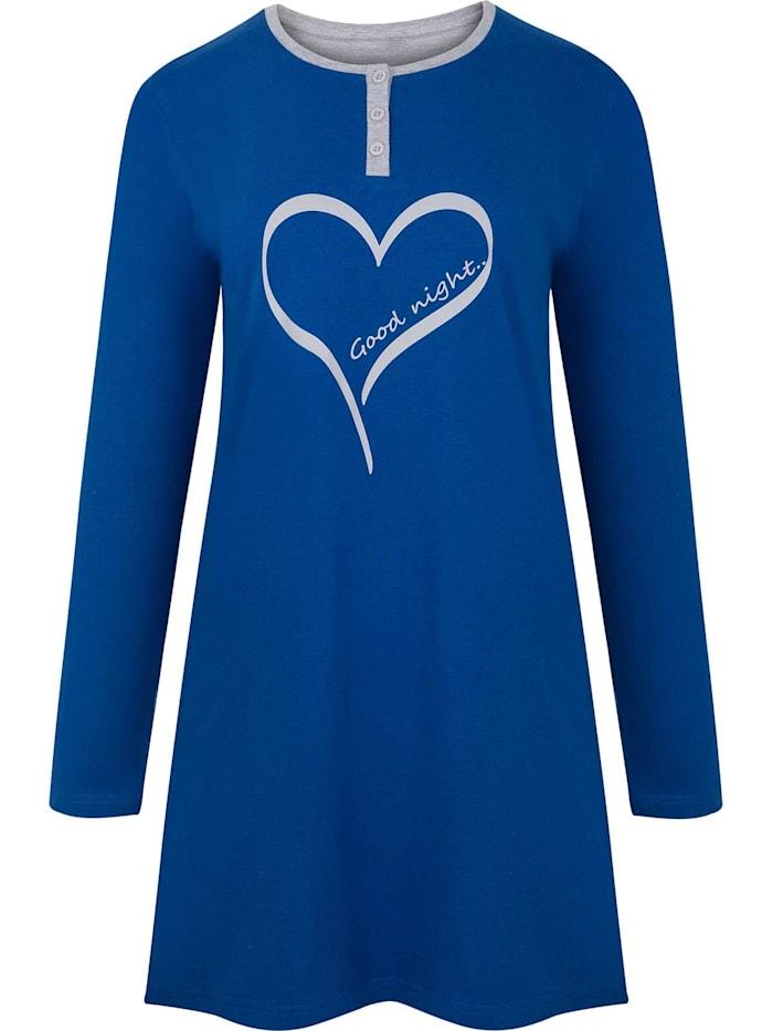 Cybèle Damen Langarm Nachthemd, blau bedruckt