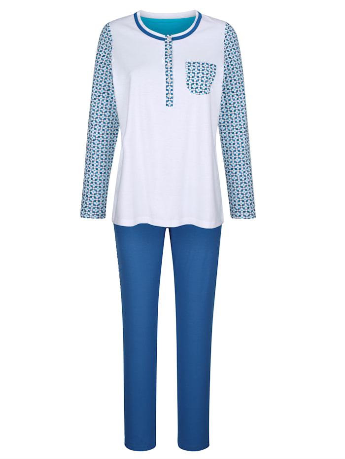 Blue Moon Schlafanzug mit kontrastfarbener Brusttasche, Weiß/Royalblau