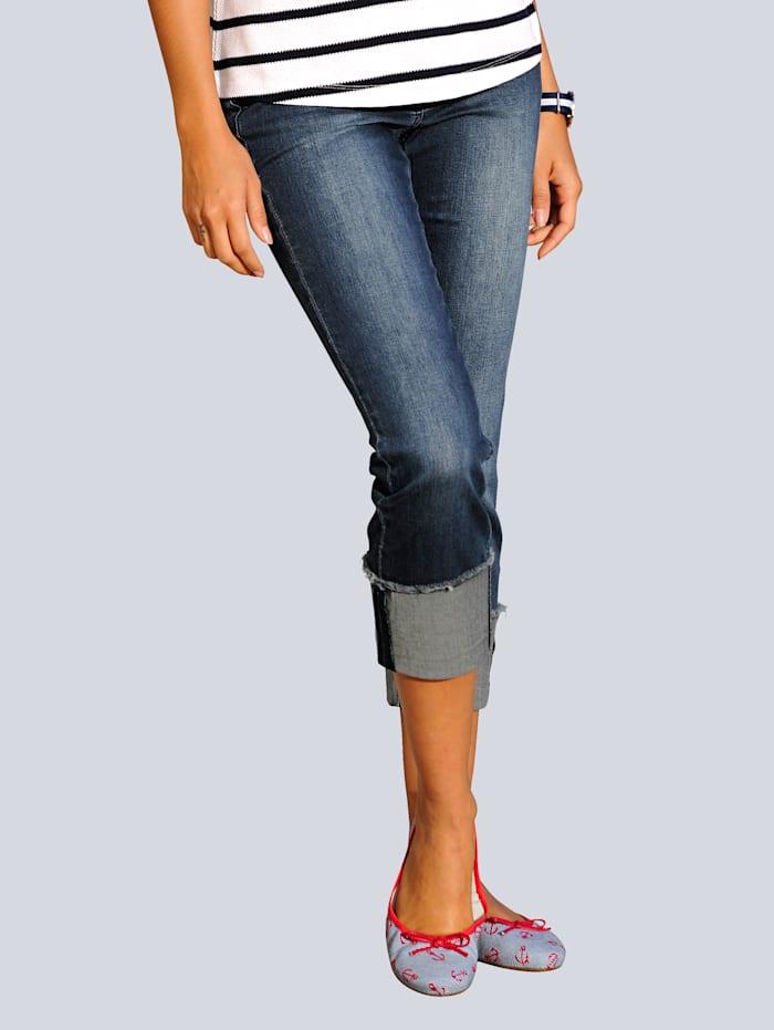 Alba Moda Jeans mit breitem Umschlag am Saum, Dark blue