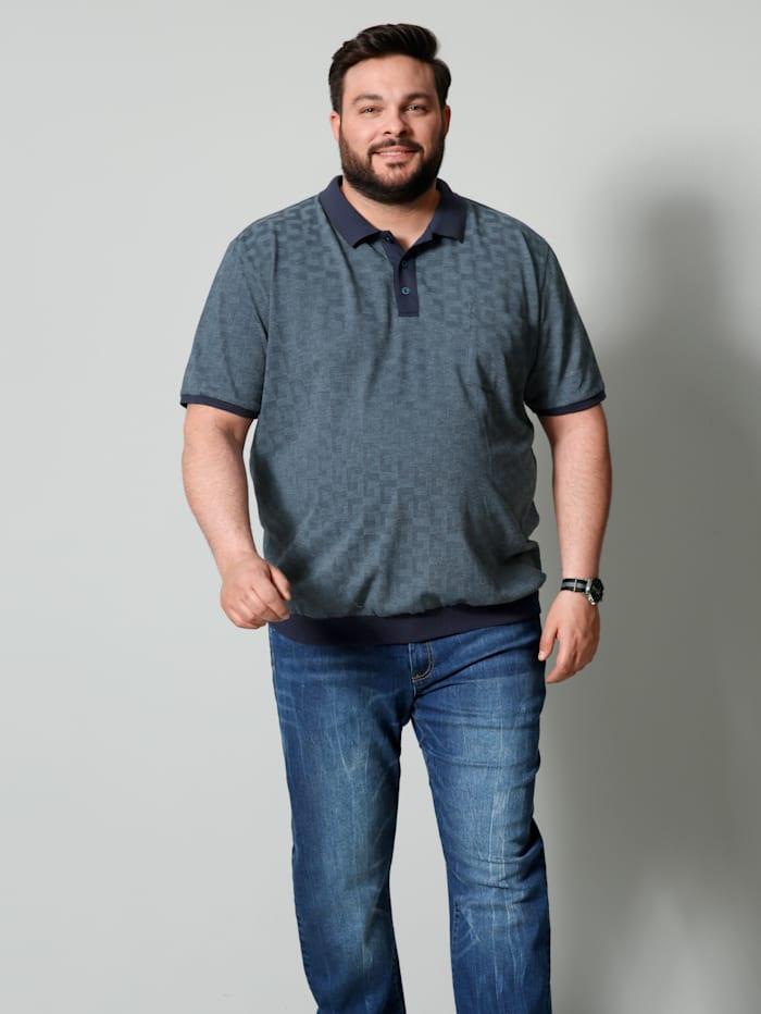 Men Plus Poloshirt Spezialschnitt, Marineblau/Petrol