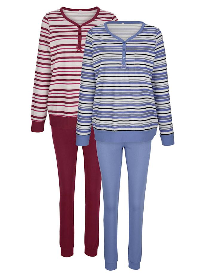 Harmony Pyjamas med muddar, Lavendel/Ljung/Benvit