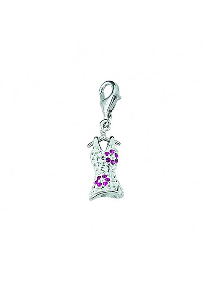 1001 Diamonds Damen Silberschmuck 925 Silber Charms Anhänger Kleid mit Glasstein, bunt/multi