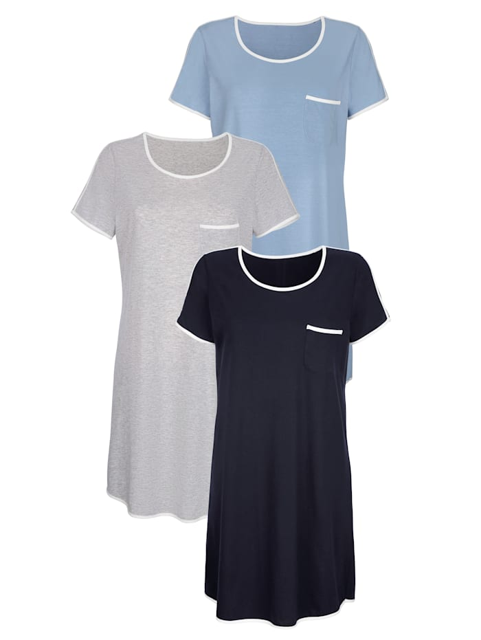 Nachthemd met contrastkleurige inzetten 3 stuks