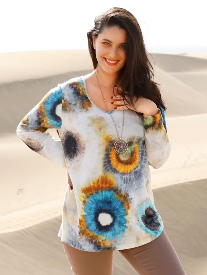 MIAMODA T-shirt en maille fine à effet batik, Beige/Turquoise