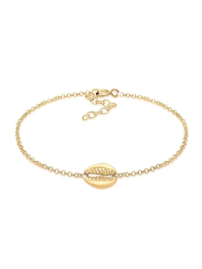 Elli Armband Muschel Anhänger Meer Strand 925 Sterling Silber, Gold
