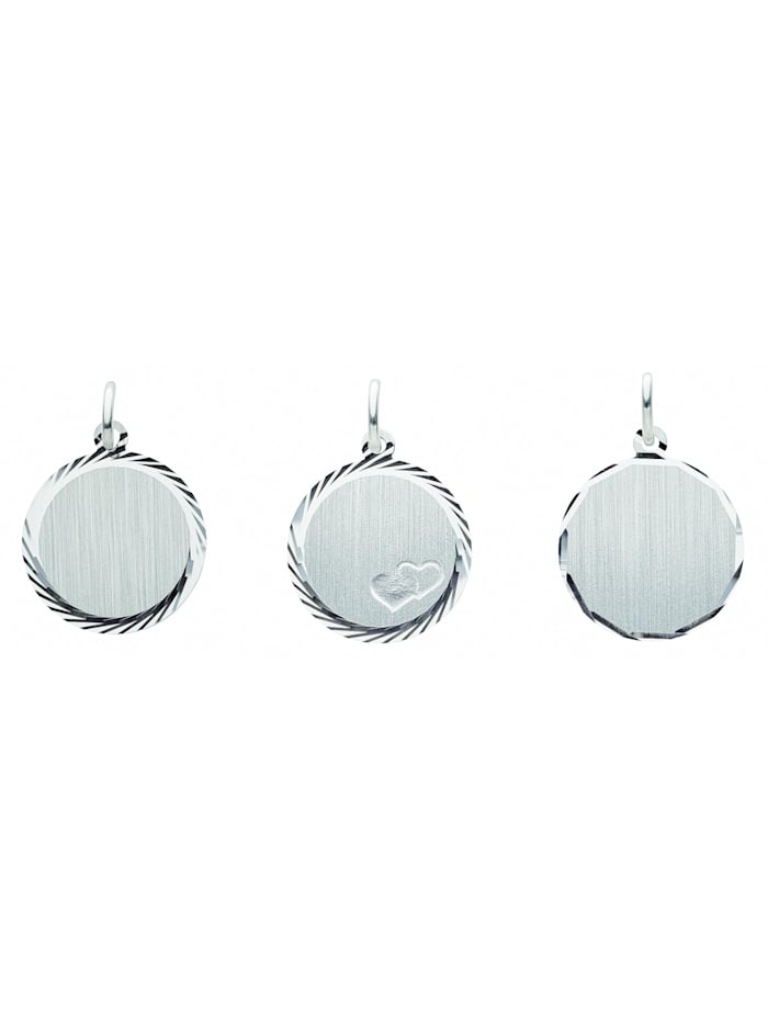 1001 Diamonds Damen Silberschmuck 925 Silber Gravurplatte Anhänger Ø 16 mm, silber
