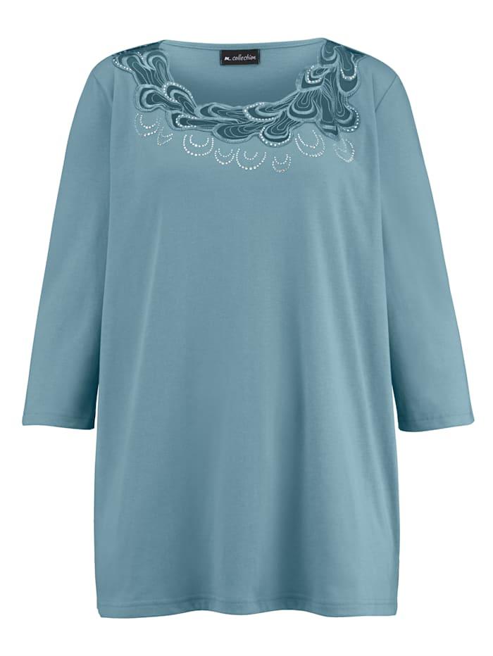 m. collection Shirt mit aufwendiger Spitzen-Verarbeitung vorne am Ausschnitt, Petrol
