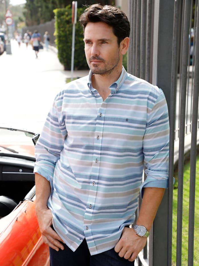 BABISTA Hemd mit garngefärbten Querstreifen, Blau/Beige
