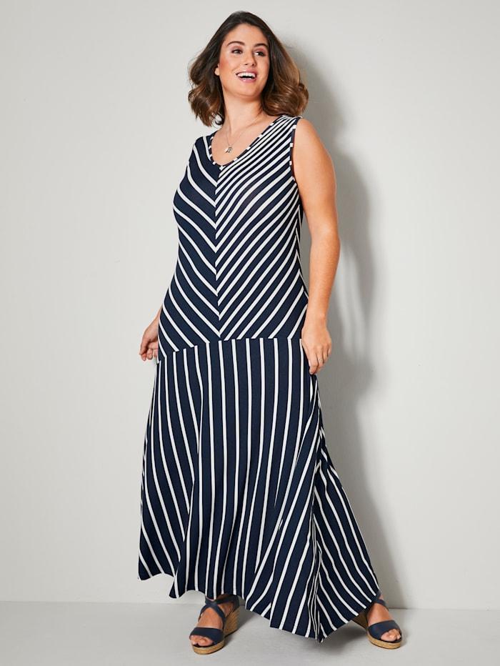 Sara Lindholm Jerseykleid mit asymmetrischem Saum, Marineblau/Weiß