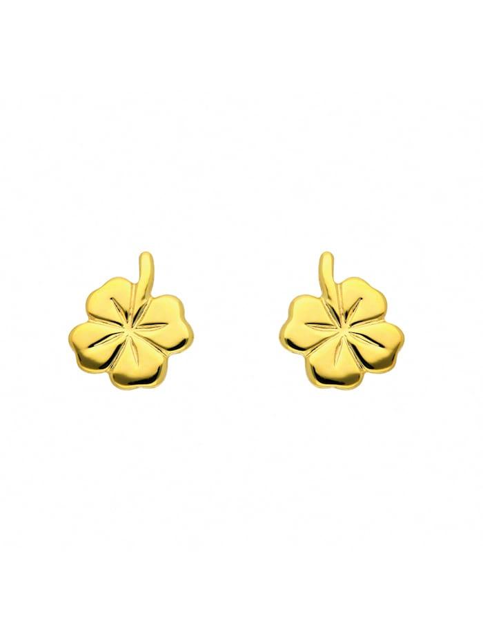1001 Diamonds Damen Goldschmuck 333 Gold Ohrringe / Ohrstecker Kleeblatt, gold