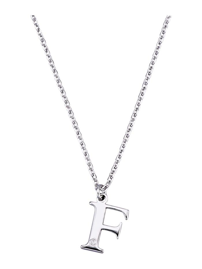 Collier Letter F met diamant, Zilverkleur