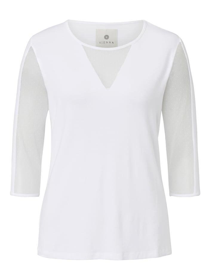 SIENNA Langarmshirt mit Einsätzen aus Mesh, Off-white