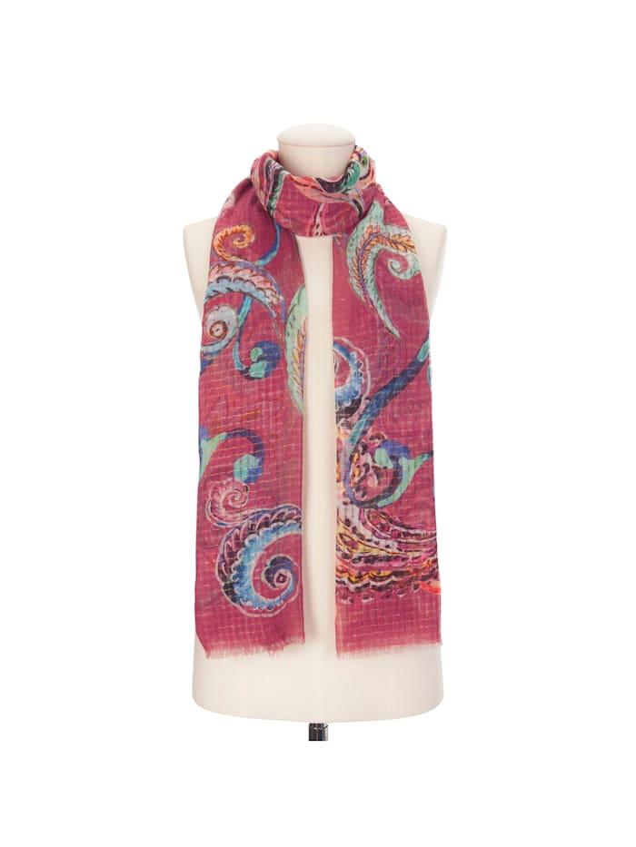 Paisley-Schal aus Baumwolle mit Glanzstreifen