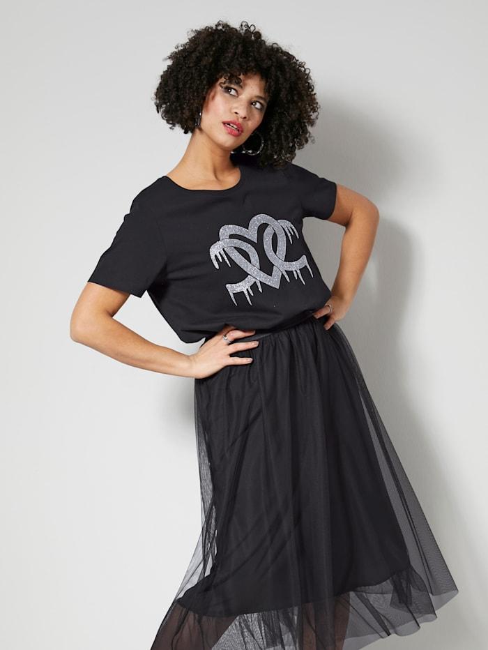 Angel of Style Shirt met glittermotief, Zwart/Zilverkleur