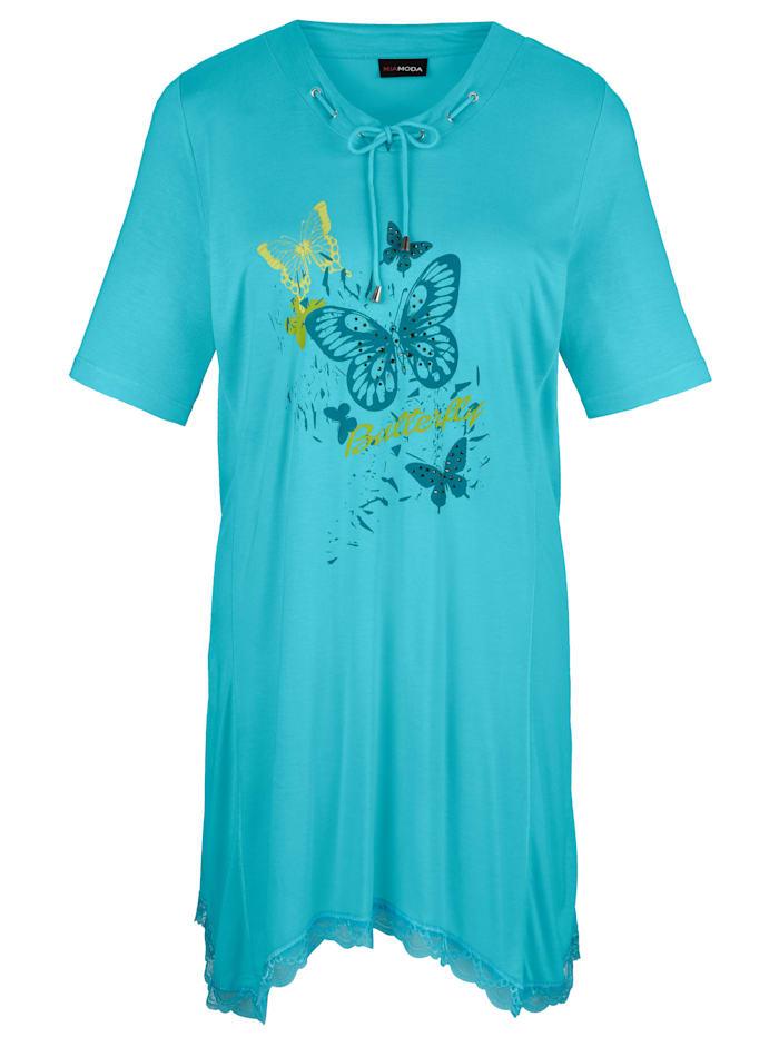 MIAMODA T-shirt à pointes à imprimé papillons, Turquoise