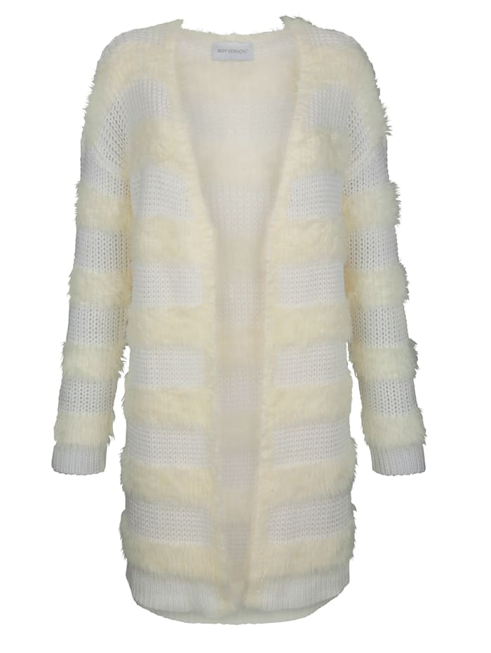AMY VERMONT Strickjacke in flauschiger Qualität, Off-white