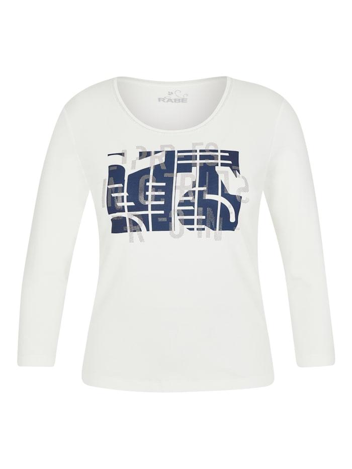 Rabe Shirt mit abstraktem Front-Print und Glitzersteinen, NATUR