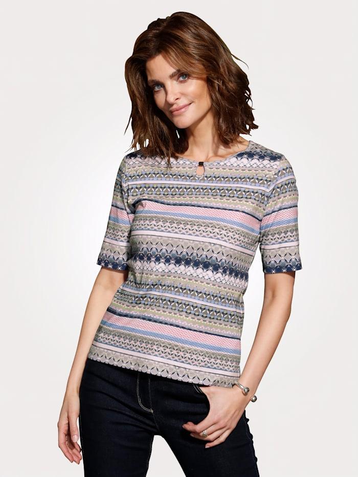 Rabe Shirt aus reiner Baumwolle, Schilf/Rosé/Blau