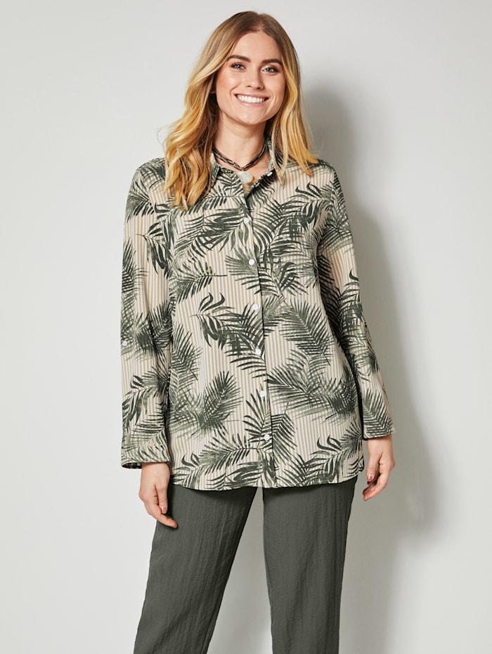 MIAMODA Hemdbluse mit Streifen-und Blätterdruck, Khaki