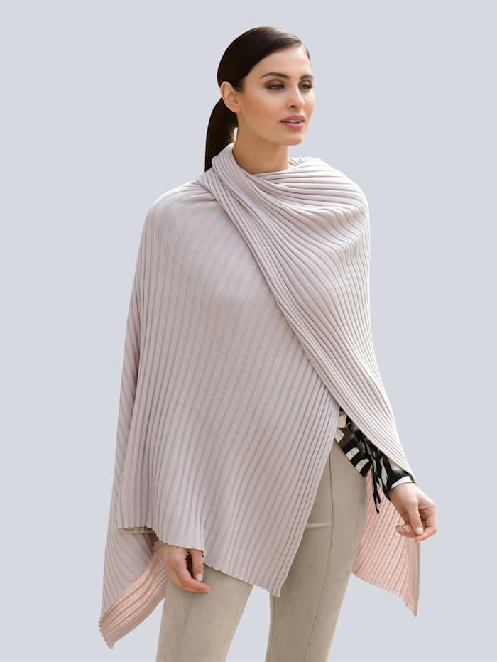 Alba Moda Poncho-Pullover in modischer Schnittführung, Taupe
