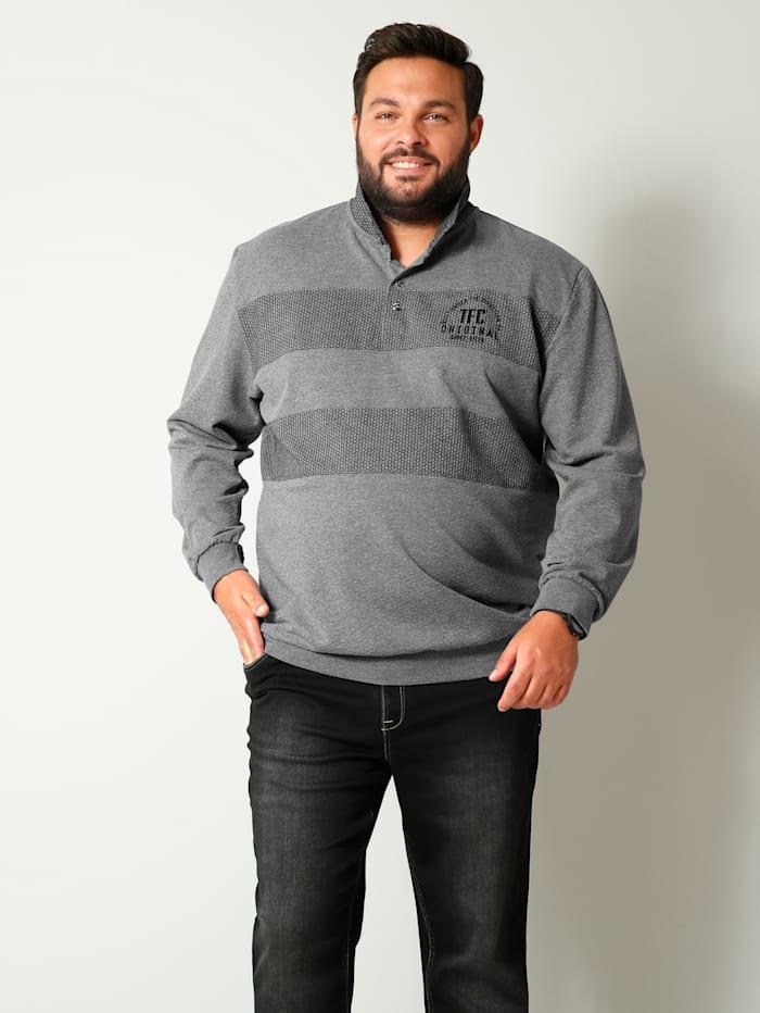Men Plus Sweatshirt mit Umlegekragen, Grau