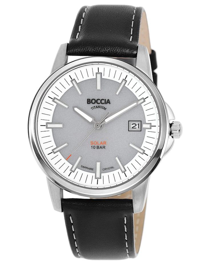 Boccia Herren-Solaruhr Titan mit Saphirglas grau/schwarz, Silberfarben