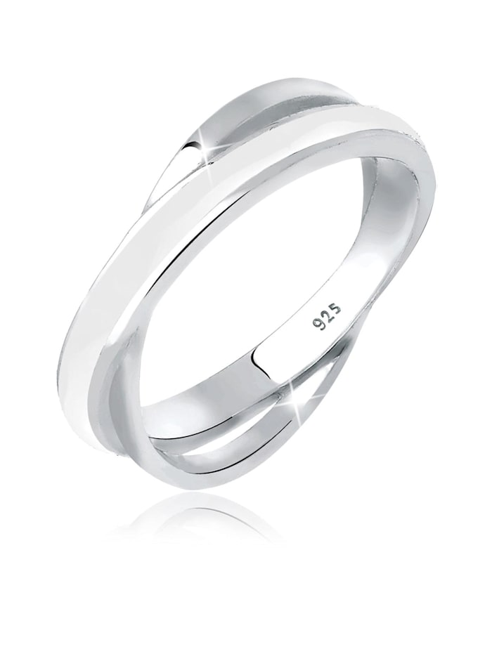 Elli Ring Wickelring Emaille 925 Sterling Silber, Weiß
