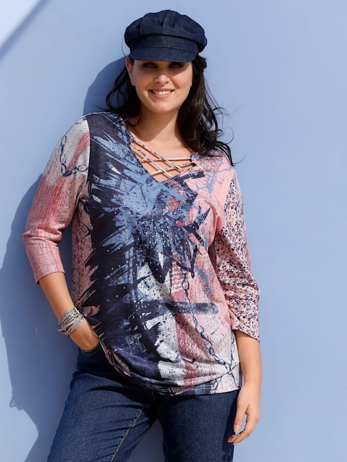 MIAMODA T-shirt avec lacet fantaisie à l'encolure, Saumon/Bleu