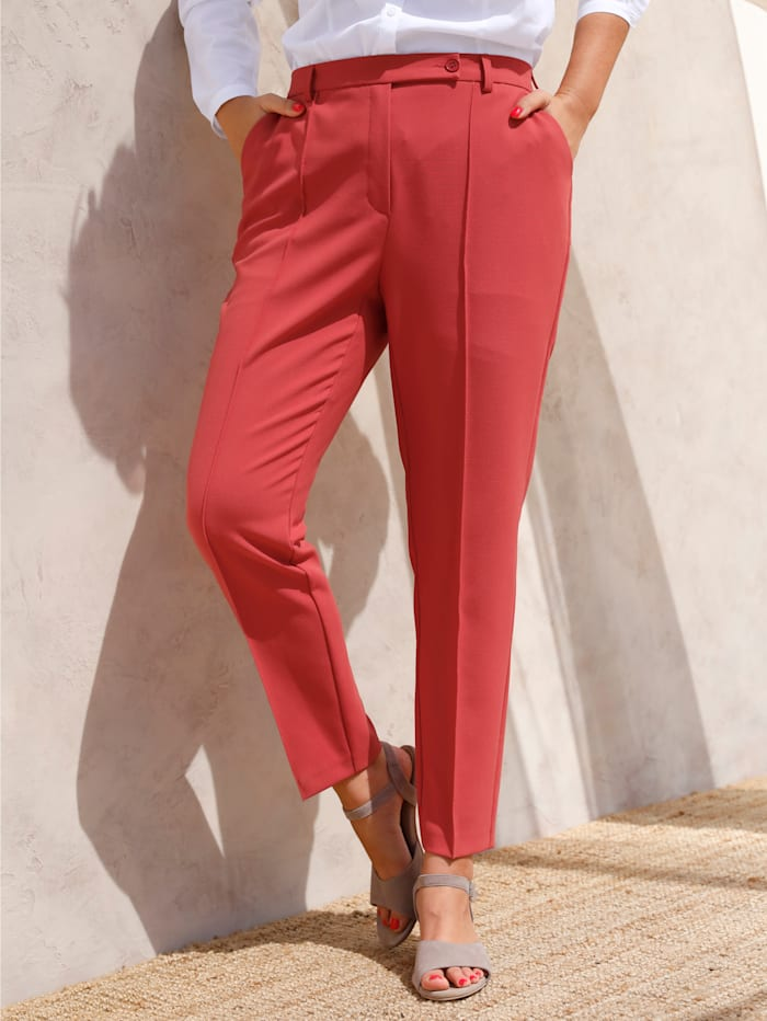 MIAMODA Pantalon à plis marqués, Corail