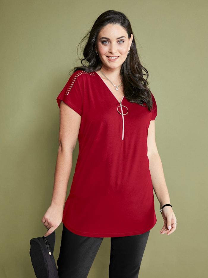 MIAMODA Shirt mit Reißverschluss am Ausschnitt, Rot