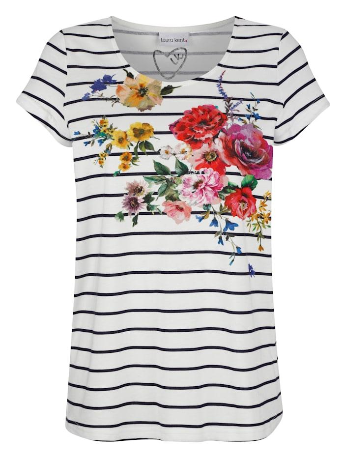 Tričko s květinovým potiskem na přední části