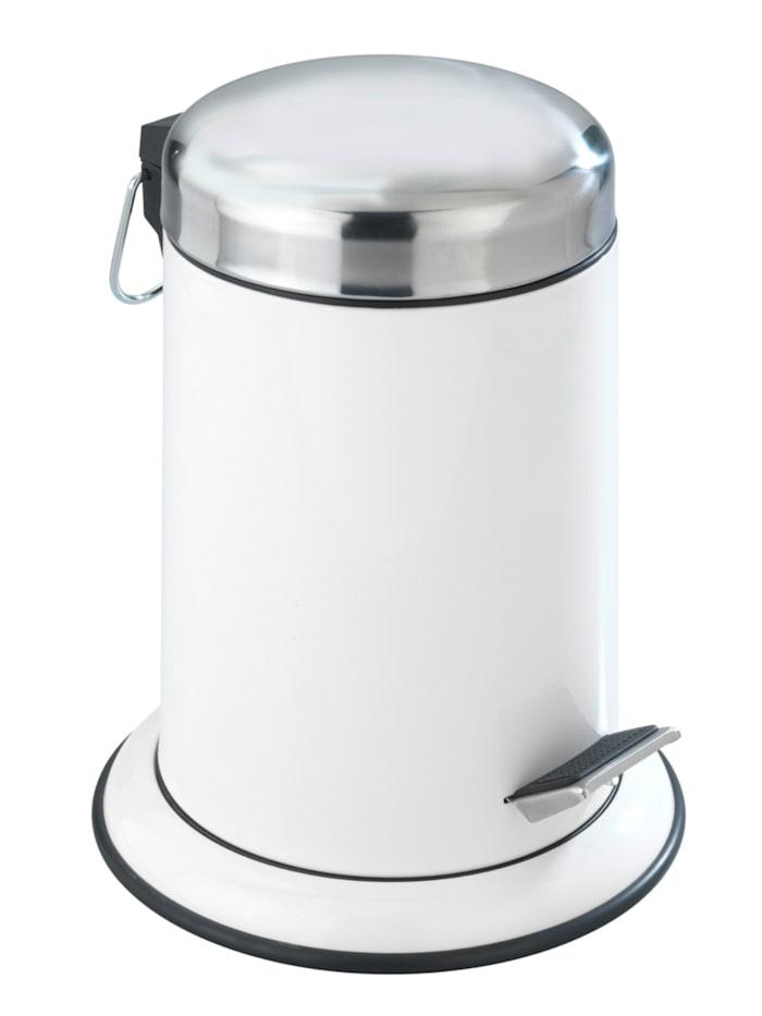 Wenko Kosmetik Treteimer Retoro Weiß Edelstahl, 3 Liter, Edelstahl rostfrei, Weiß, Einsatz: Schwarz