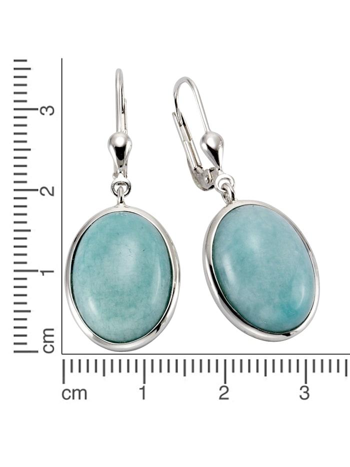 Ohrhänger 925/- Sterling Silber Amazonit blau 3,6cm Glänzend 925/- Sterling Silber