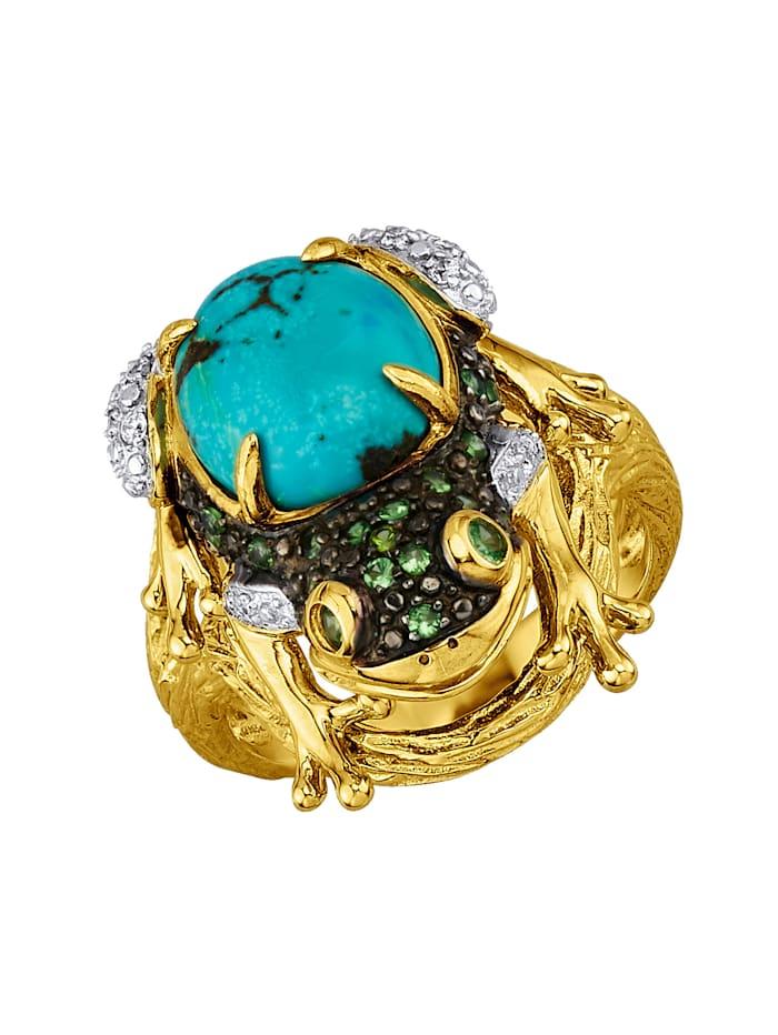 Amara Farbstein Damenring in Silber 925, Gelbgoldfarben