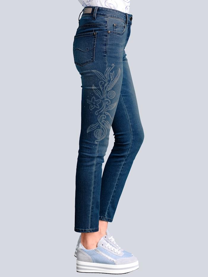 Jeans met modieuze laserprint