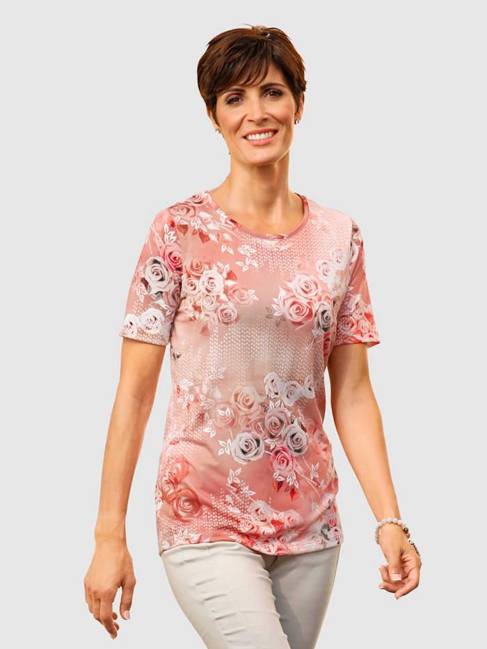 Paola Shirt mit Rosendruck, Pfirsich/Beige