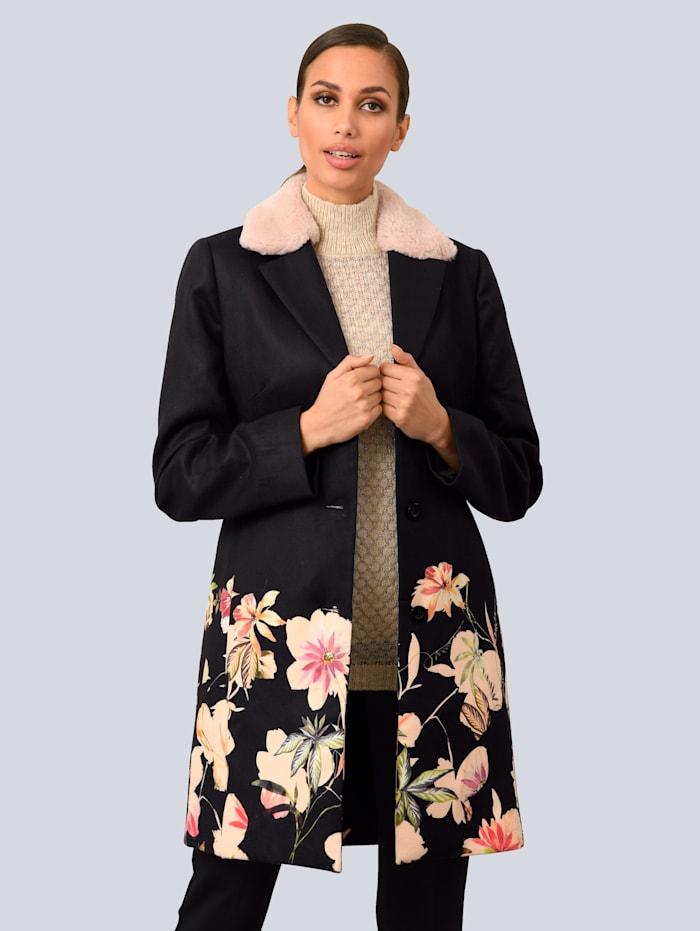 Alba Moda Mantel mit abnehmbarem Kragen, Schwarz