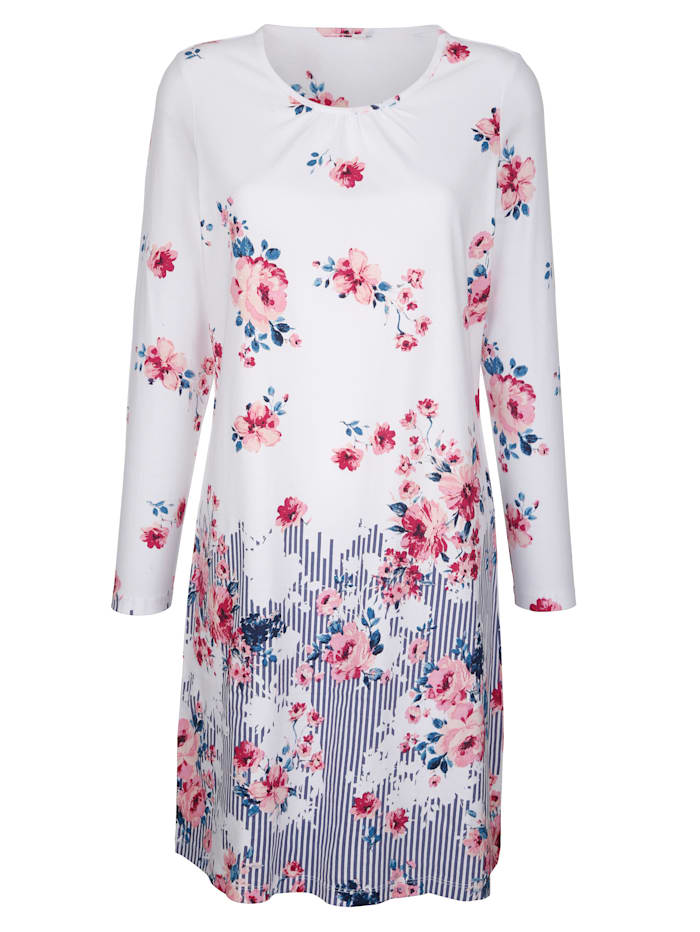 Blue Moon Nightdress with delicate gathers, White/Blue/Fuchsia