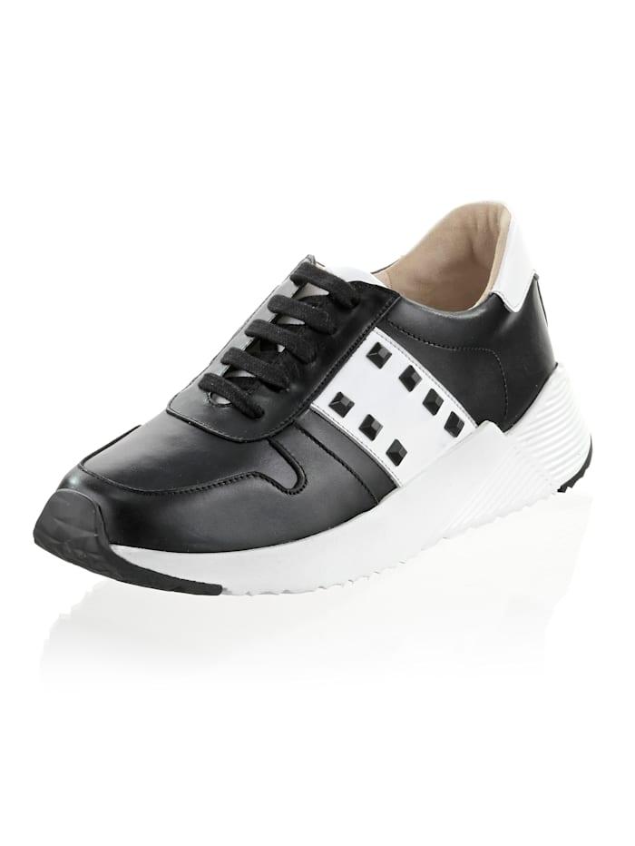 Alba Moda Sneaker in klassieke kleurencombinatie, Wit/Zwart