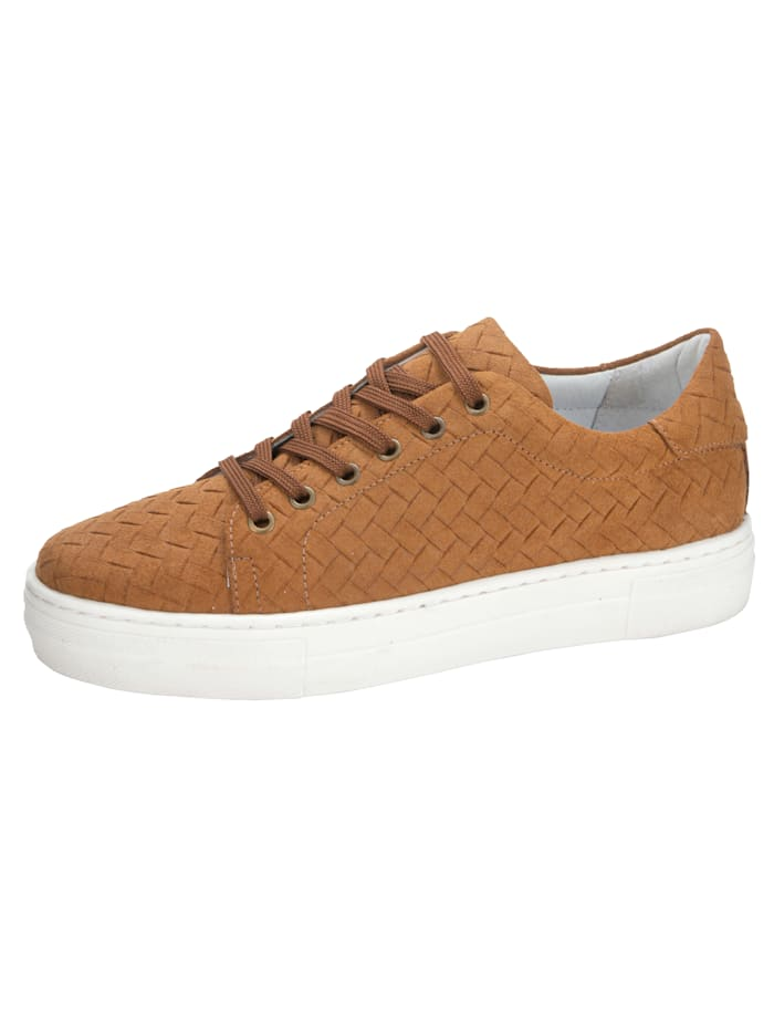 Filipe Shoes Plateausneaker in wunderschöner Flecht-Optik, Cognac
