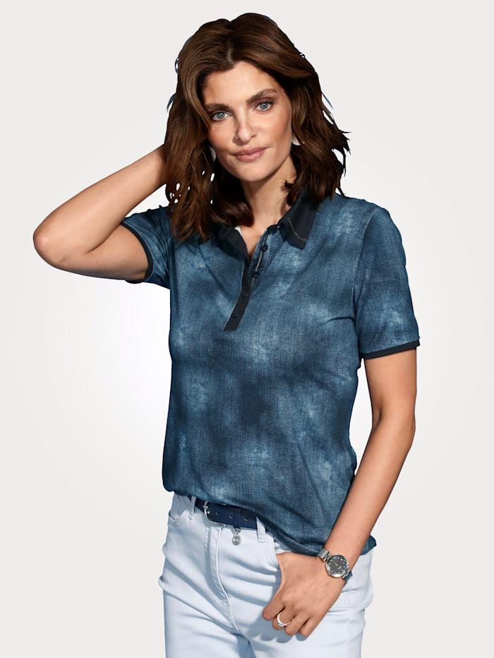 Polo shirt made from a chic denim-effect fabric