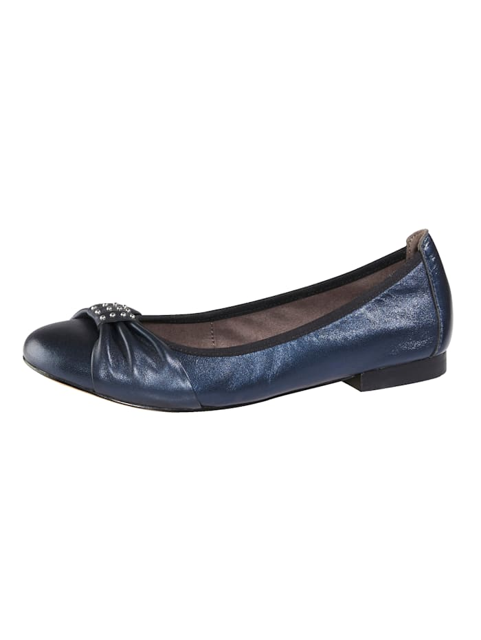 MONA Ballet pumps with silver-tone beading, Dark Blue