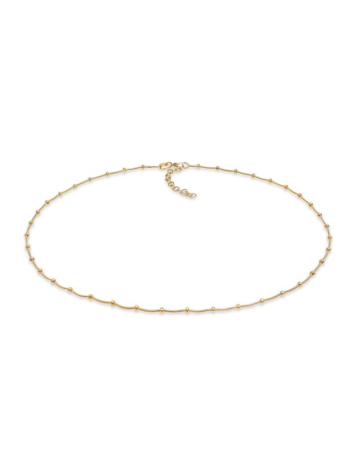 Elli Halskette Choker Kugelkette Basic Rund 925Er Silber, Gold