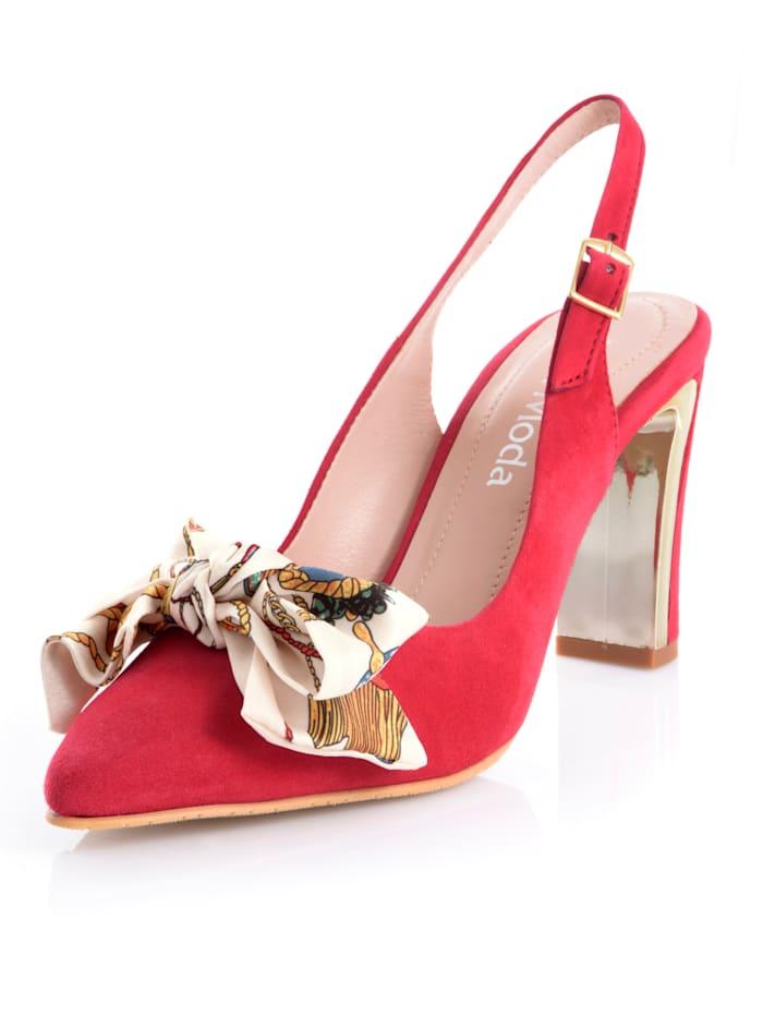 Alba Moda Escarpins à bride en cuir velours de chevreau, Rouge