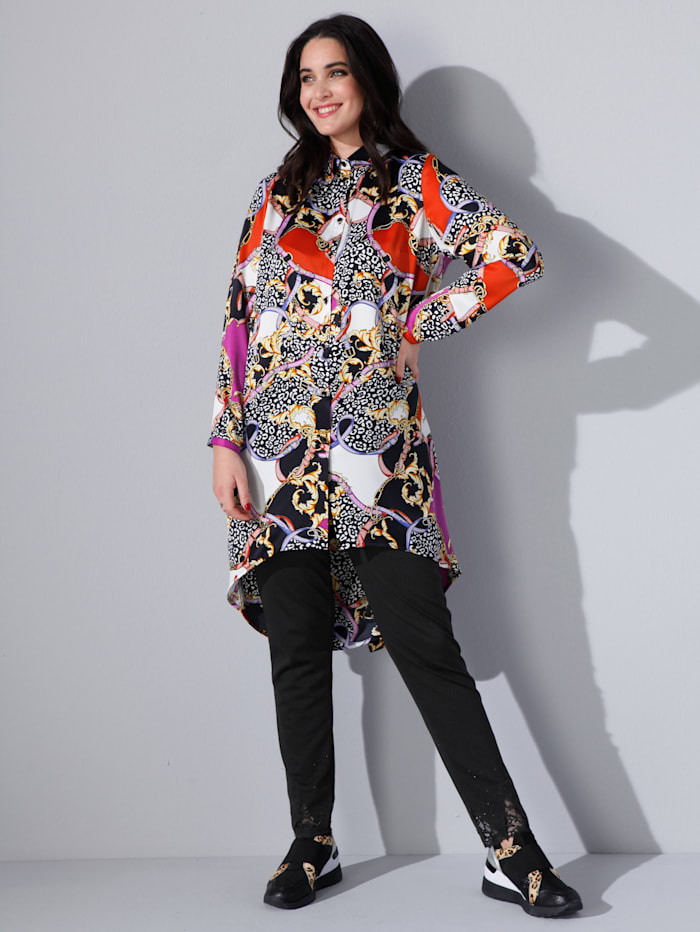 MIAMODA Longbluse mit modischem Animal- und Kettendruck, Multicolor