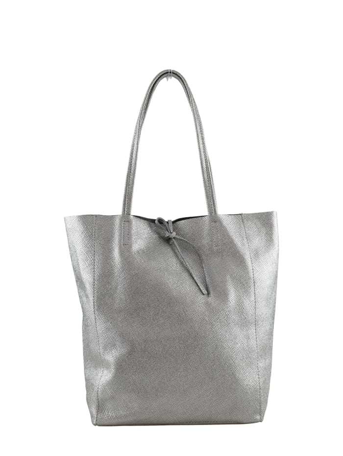 Collezione Alessandro Shopper Fay mit geprägtem Material, silber