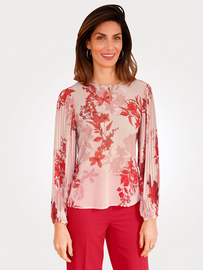 MONA Bluse mit floralem Druck, Apricot/Rot